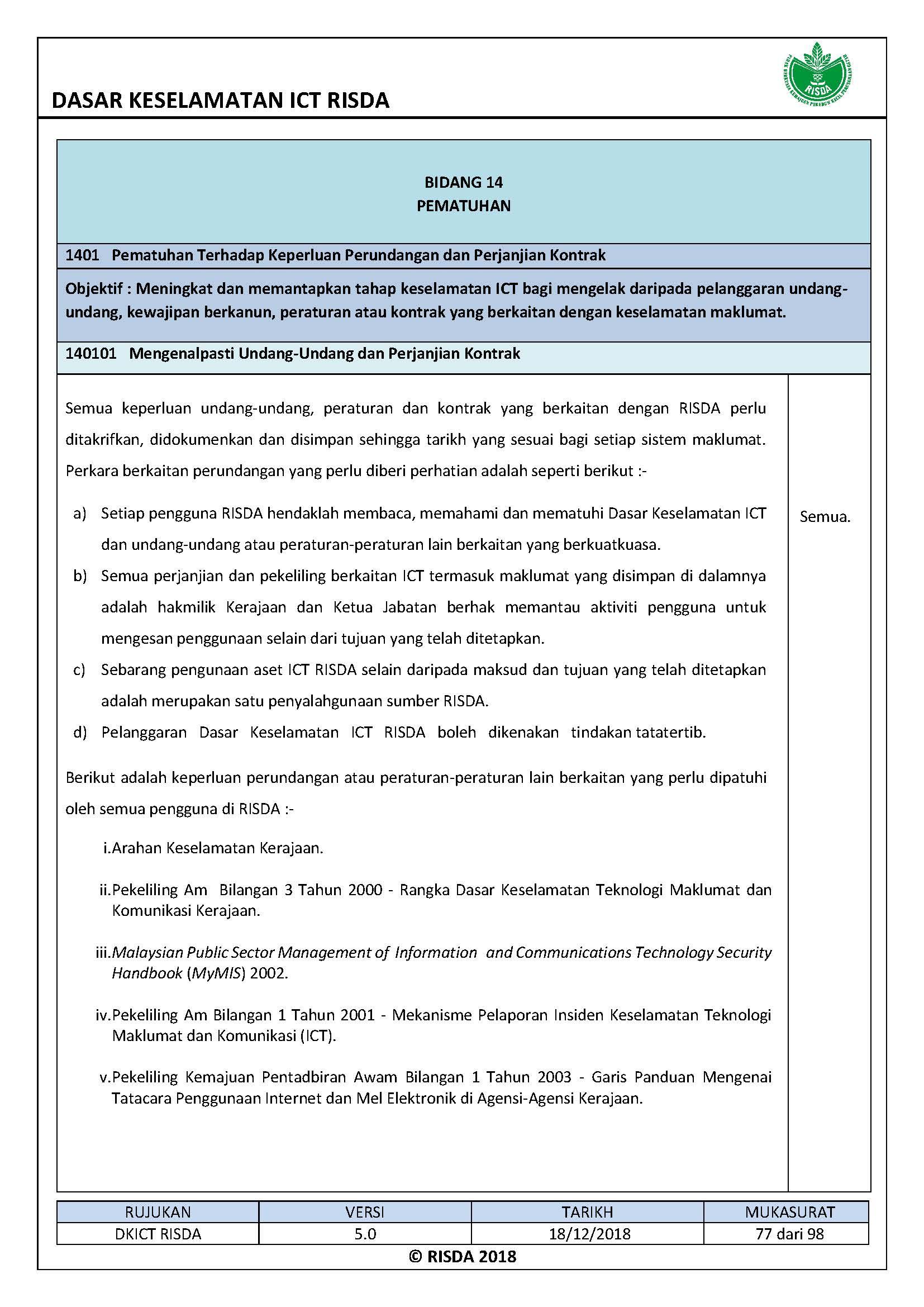 Official Portal Of Risda Guide Book Dasar Keselamatan Ict Risda Page 87